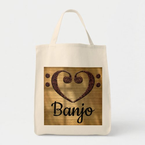 Double Bass Clef Heart Over Golden Sheet Music Banjo Grocery Tote Bag