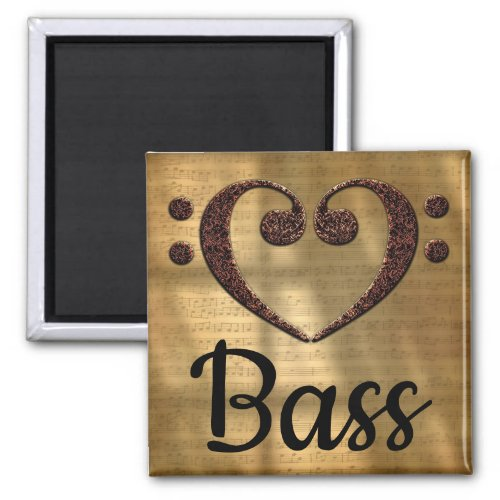 Double Bass Clef Heart Bass Music Lover 2-inch Square Magnet