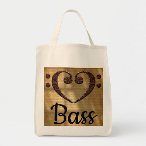 Double Bass Clef Heart Over Golden Sheet Music Bass Grocery Tote Bag