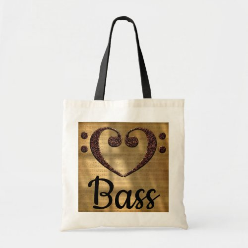 Double Bass Clef Heart Over Golden Sheet Music Bass Budget Tote Bag