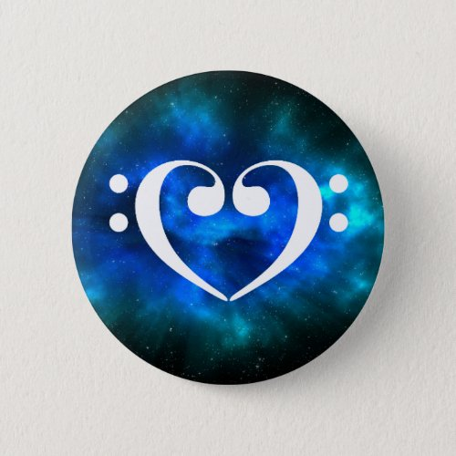 Double Bass Clef Heart Blue Green Nebula Outer Space Standard Round Button
