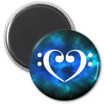 Double Bass Clef Heart Blue Green Nebula Space Magnet