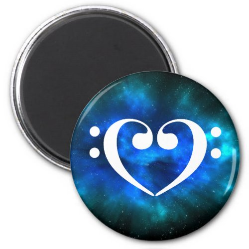 Double Bass Clef Heart Blue Green Nebula Outer Space Round Magnet