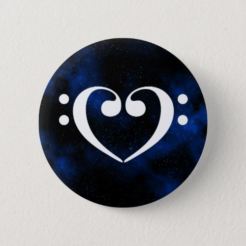 Double Bass Clef Heart Blue Milky Way Outer Space Standard Round Button
