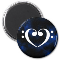 Double Bass Clef Heart Blue Milky Way Outer Space Magnet