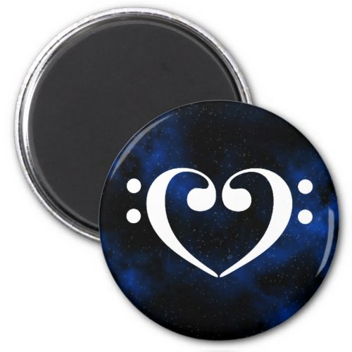 Double Bass Clef Heart Blue Milky Way Outer Space Round Magnet