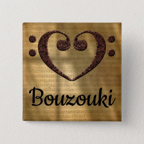 Double Bass Clef Heart Bouzouki Music Lover 2-inch Square Button