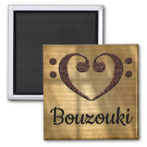 Double Bass Clef Heart Bouzouki Music Lover 2-inch Square Magnet