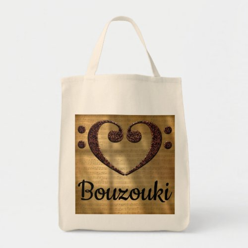 Double Bass Clef Heart Over Golden Sheet Music Bouzouki Grocery Tote Bag