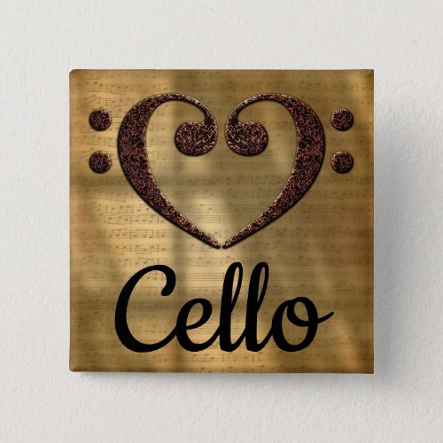 Double Bass Clef Heart Cello Music Lover 2-inch Square Button