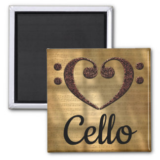 Double Bass Clef Heart Cello Magnet