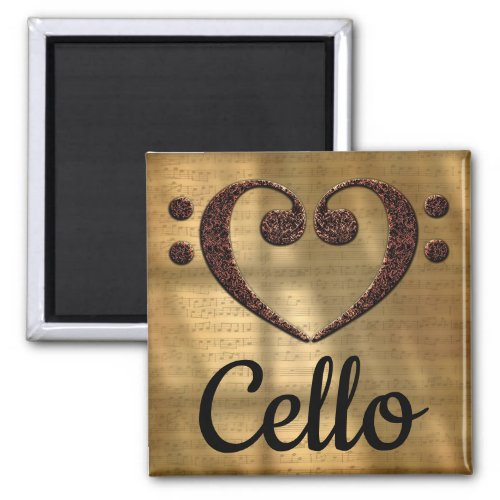 Double Bass Clef Heart Cello Music Lover 2-inch Square Magnet