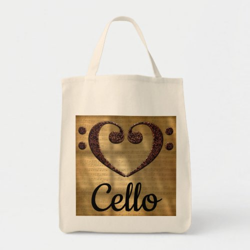 Double Bass Clef Heart Over Golden Sheet Music Cello Grocery Tote Bag