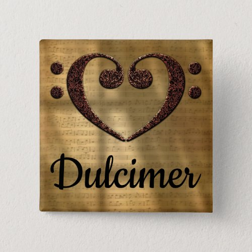 Double Bass Clef Heart Dulcimer Music Lover 2-inch Square Button