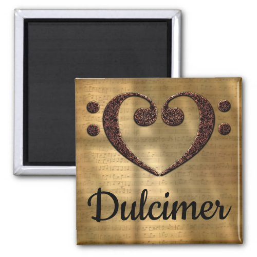 Double Bass Clef Heart Dulcimer Music Lover 2-inch Square Magnet