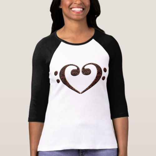 Double Bass Clef Heart Music Notes for Music Lovers Raglan T-Shirt