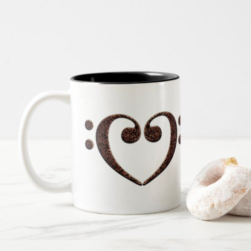 Double Bass Clef Heart for Music Lovers Two-Tone Coffee Mug