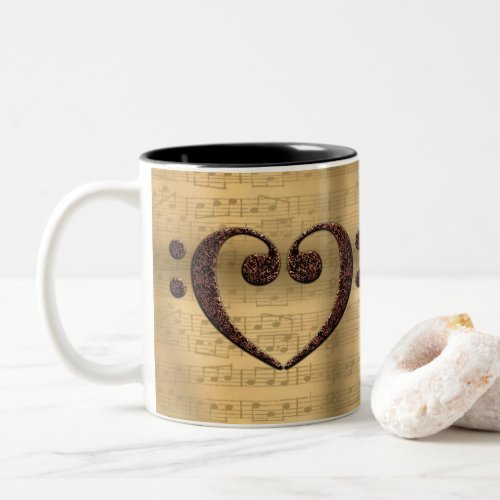Double Bass Clef Heart Over Sheet Music for Music Lovers Two-Tone Coffee Mug