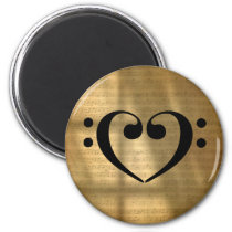 Double Bass Clef Heart Gold Vintage Sheet Music Magnet