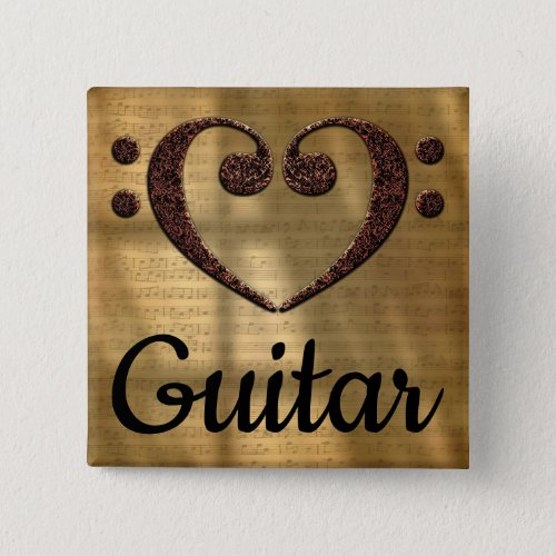 Double Bass Clef Heart Guitar Music Lover 2-inch Square Button