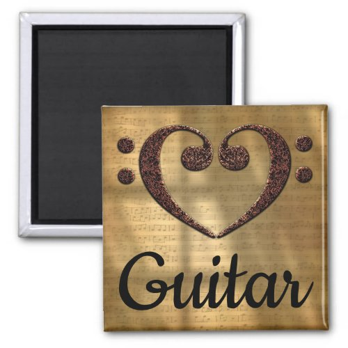 Double Bass Clef Heart Guitar Music Lover 2-inch Square Magnet