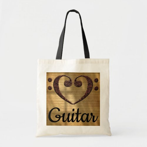 Double Bass Clef Heart Over Sheet Music Guitar Budget Tote Bag