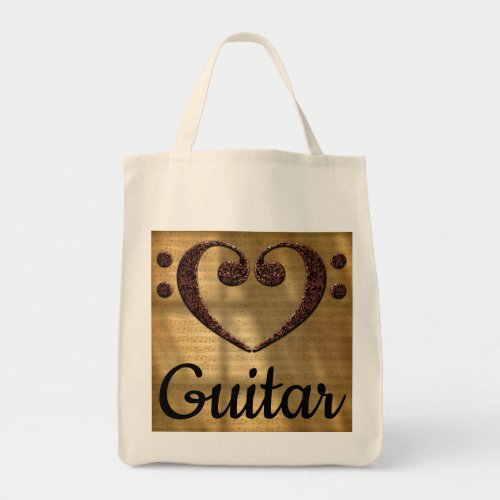 Double Bass Clef Heart Over Golden Sheet Music Guitar Grocery Tote Bag