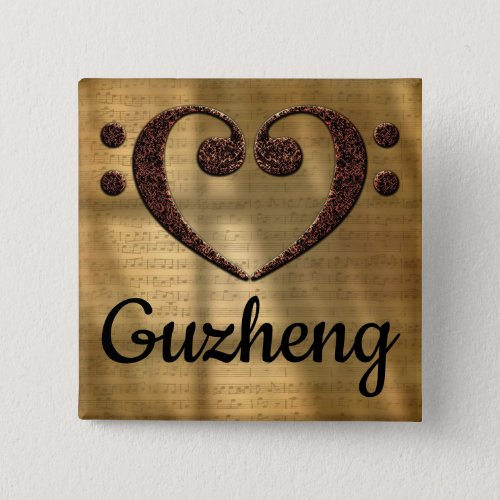 Double Bass Clef Heart Guzheng Music Lover 2-inch Square Button