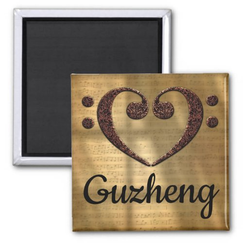 Double Bass Clef Heart Guzheng Music Lover 2-inch Square Magnet