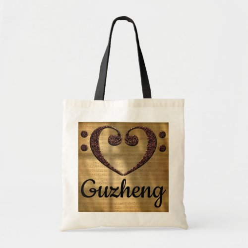 Double Bass Clef Heart Over Golden Sheet Music Guzheng Budget Tote Bag