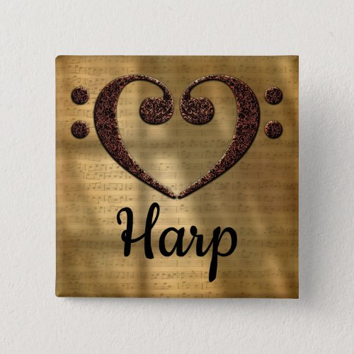 Double Bass Clef Heart Harp Music Lover 2-inch Square Button
