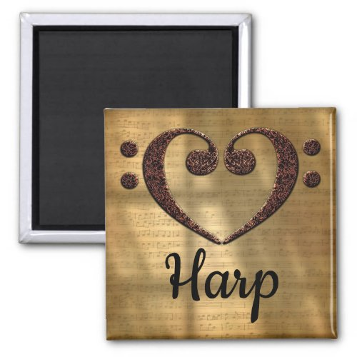 Double Bass Clef Heart Harp Music Lover 2-inch Square Magnet
