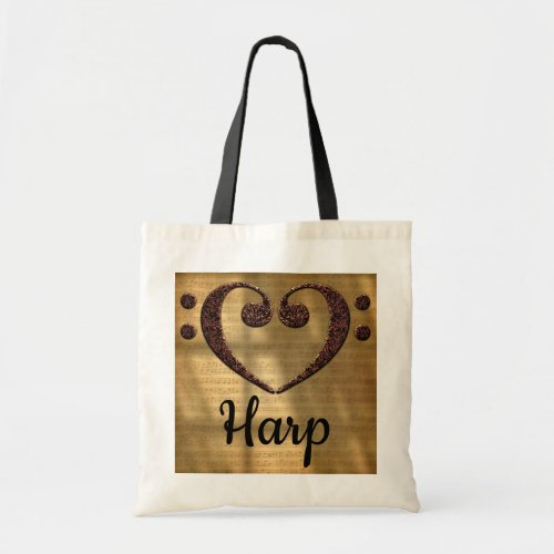 Double Bass Clef Heart Over Golden Sheet Music Harp Budget Tote Bag