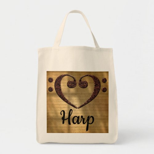 Double Bass Clef Heart Over Golden Sheet Music Harp Grocery Tote Bag