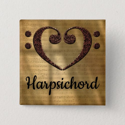 Double Bass Clef Heart Harpsichord Music Lover 2-inch Square Button