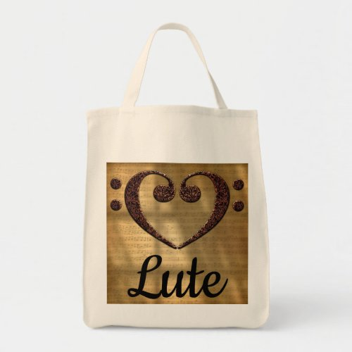 Double Bass Clef Heart Over Golden Sheet Music Lute Grocery Tote Bag