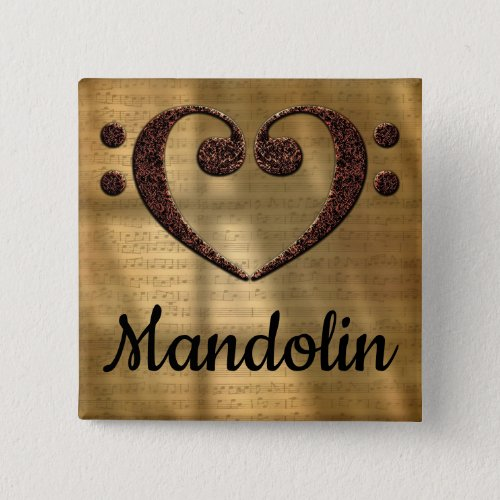 Double Bass Clef Heart Mandolin Music Lover 2-inch Square Button