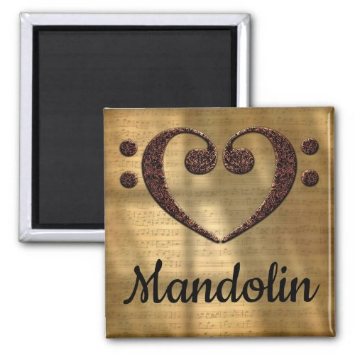 Double Bass Clef Heart Mandolin Music Lover 2-inch Square Magnet