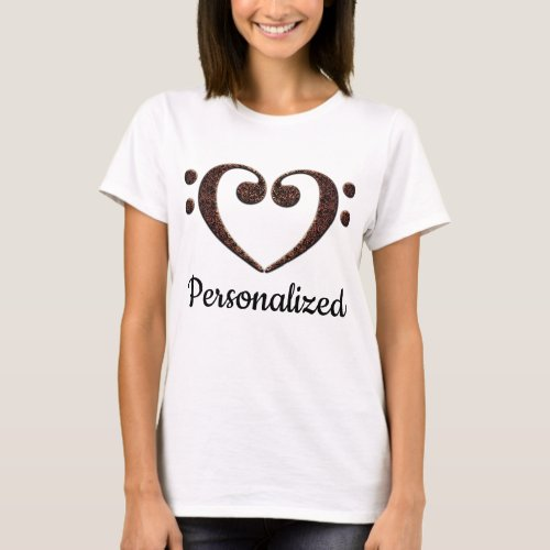 Double Bass Clef Heart Music Notes Personalized Basic T-Shirt