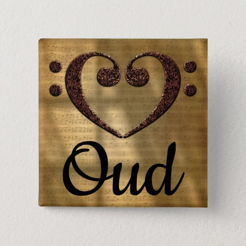 Double Bass Clef Heart Oud Music Lover 2-inch Square Button