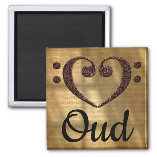 Double Bass Clef Heart Oud Music Lover 2-inch Square Magnet