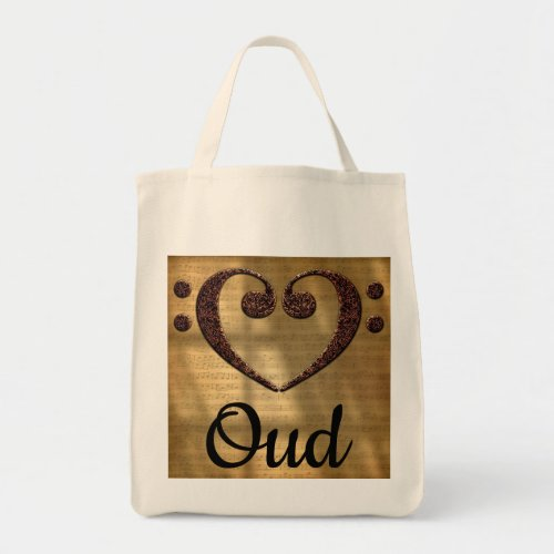 Double Bass Clef Heart Over Golden Sheet Music Oud Grocery Tote Bag