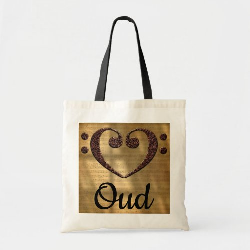 Double Bass Clef Heart Over Sheet Music Oud Budget Tote Bag