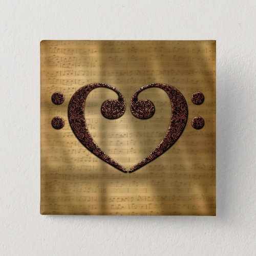 Double Bass Clef Heart Over Vintage Gold Sheet Music 2-inch Square Button