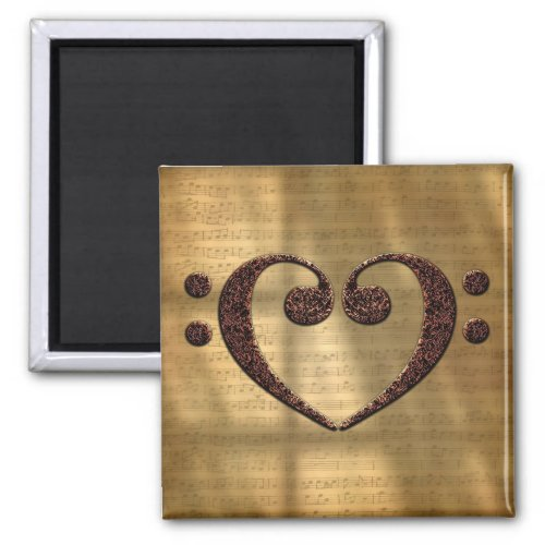 Double Bass Clef Heart Over Vintage Gold Sheet Music 2-inch Square Magnet