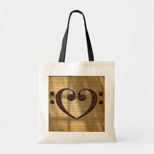 Double Bass Clef Heart Over Sheet Music Budget Tote Bag