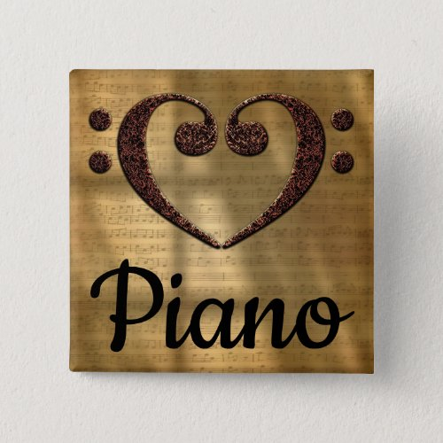 Double Bass Clef Heart Piano Music Lover 2-inch Square Button