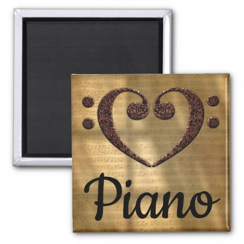 Double Bass Clef Heart Piano Music Lover 2-inch Square Magnet