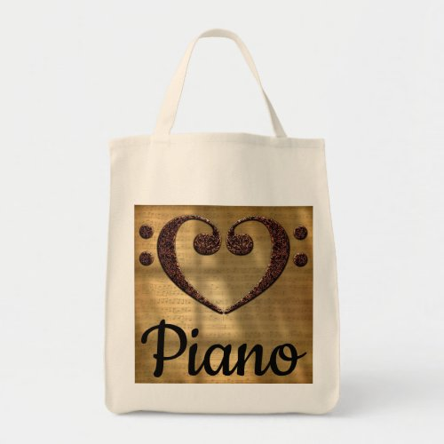 Double Bass Clef Heart Over Golden Sheet Music Piano Grocery Tote Bag
