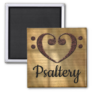 Double Bass Clef Heart Psaltery Magnet
